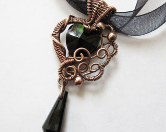 Copper Wire-wrapped Black Crystal Heart Pendant - Gothic Black Glass Necklace - Steampunk, Goth