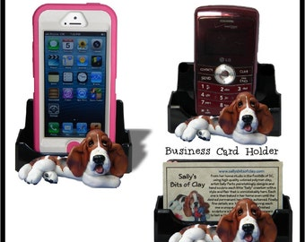 design 1 Red Tri-Color Basset Hound dog Holder for Cell Phone IPod IPhone or Business Cards OOAK by Sally's Bits of Clay