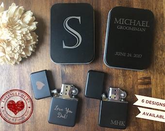 Groomsmen Gift - Mens Personalized Matte Black Finish Lighter with Tin Case  -  Laser Engraved Name, Monogram or Initials - Wedding Gift