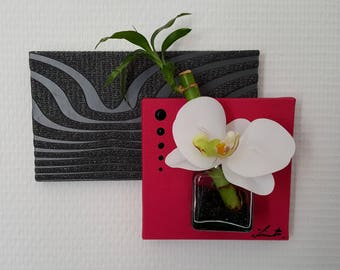 Chalkboard vegetable pink and black with white Orchid bamboo