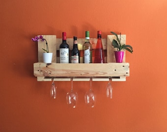 Pallet rack wine rack bar pine natural of Euro-pallets pallet furniture vintage shelf