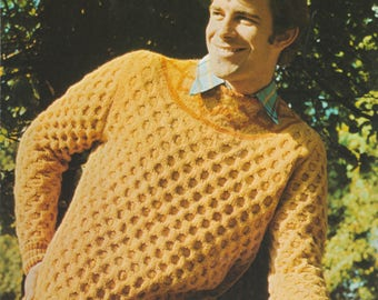 70's Knitting Pattern | Honeycomb Sweater | Hard Copy Vintage Knitting Pattern | 37 - 44 Chest Various Sizes | Patons Pattern 2165