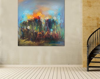 """55"""" Extra Large Oil Painting, Modern Art, Landscape, Oil Painting Abstract, Large Abstract Art, Living Room Decor, Large Wall Art Painting"""