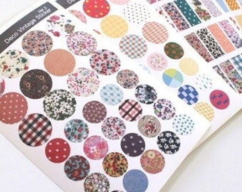 Vintage Fabric Printing Deco Sticker Set (6 sheets)