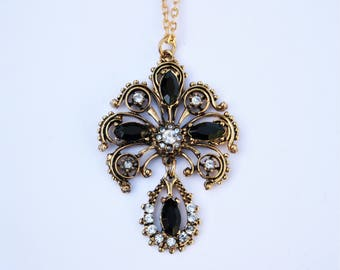 Decorative Vintage Swarovski Crystal Pendant // Gold Plated Long Chain Necklace w/ Black & Clear Swarovski Crystals // Made in England