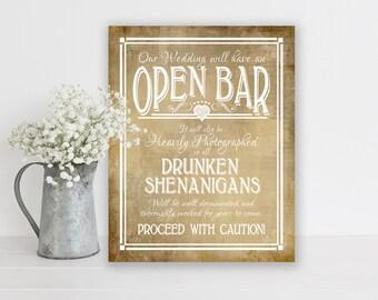 Rustic Wedding, Bar Sign   PRINTED Bar Sign, Open Bar Sign, Wedding Bar Decorations, Country Wedding, Open Bar Print, Drunken Shenanigans
