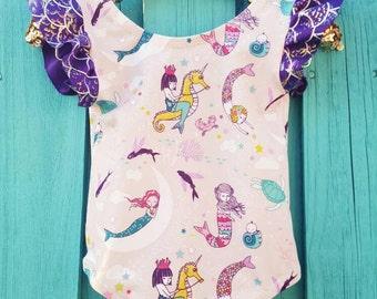 Little Mermaid First Birthday, Baby Mermaid Outfit, Baby Girl Clothes, Mermaid Leotard, Mermaid 1st Birthday Outfit, Handmade Leotard