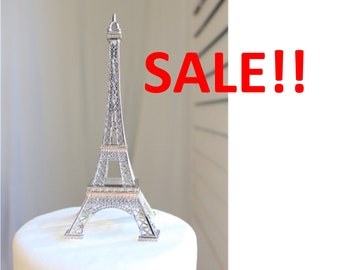 Silver Paris Eiffel Tower Cake Topper, Madeline, France, Centerpiece, Parisina Decoration, overthetop, SALE, Discount, Out of Business