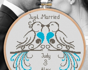 Wedding cross stitch pattern Just married announcement Birds Personalized anniversary Modern counted embroidery chart Customizable gift PDF