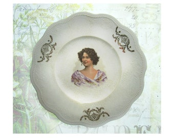 Small home decor plate - Portrait plate - kitchen and Dining - decorative plate  - Shabby Chic decor - collectible plate -  # 67