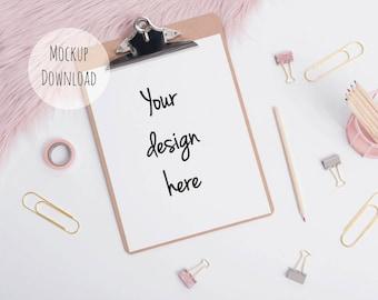 Clipboard mockup, styled stock photography, pink fur styled photo, blush stock photo, pink fur desktop mockup, blog mockup, product photo