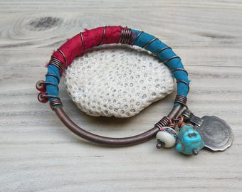 Silk Road Copper Bangle - Boho Silk Wrapped Bangle, Handmade with Tribal Metalwork and Recycled Sari Silk, Red and Turquoise