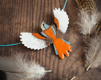 nature inspired modern bird necklace, bearded reedling, enamelled copper bib necklace, baby blue and orange statement necklace, gift for her
