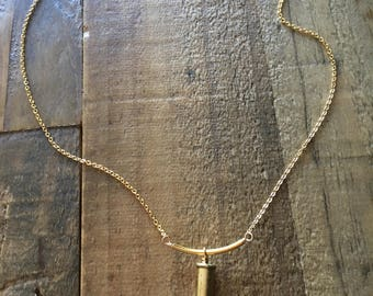 Bullet casing and tassel necklace