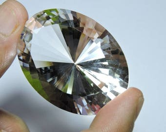 105 Carats 1 Piece Extremely Beautiful Natural Rock Crystal Quartz Diamond Cut Oval Shaped Loose Gemstone Size 30X40 MM