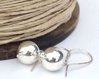 Sterling Silver Orb Earrings, Handmade