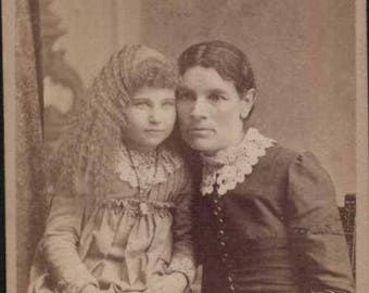 curly haired albino child? with dark haired mom cdv antique 1800s