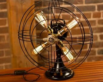 Fan Lamp   GE Model   Table Lamp   Desk Lamp   Nightlight   Bed light   Vintage Fan   Lamp   Steampunk lamp   Steampunk   Large Fan