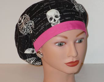 European Style Scrub Hat...Glow in the Dark Bones w/Pink Contrasting Band...X-Ray Tech/Ortho/Scrub Hats for Women
