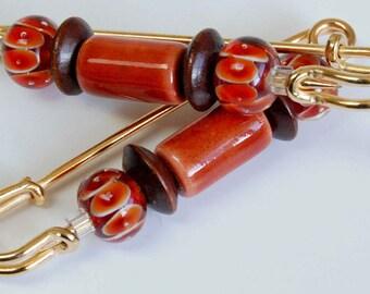 Orange Lampwork, Ceramic n Brown Wood Bead Gathering Pin Pair, Orange and Brown Scarf Pin, Sleeve Pin, Autumn Accessory, Sleeve Bling