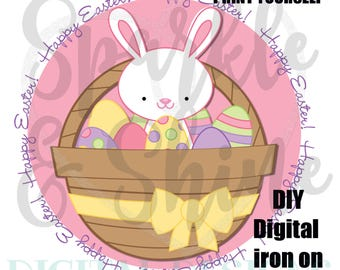 DIY Easter Egg Hunt iron on - Digital Iron On - Digital iron on - iron on transfer - Girl iron on - instant download - 1st Easter Iron On