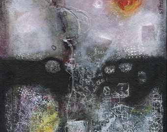 mixed media canvas abstract original painting mysterious ethereal