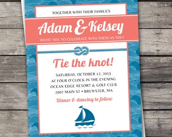 Nautical Waves - Wedding Invitation Set - Digital Files