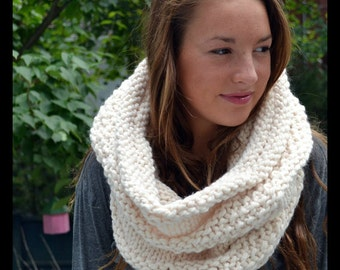 Cozy Bee Shrug- Chunky Knit Shrug (and cowl) - Creamy White