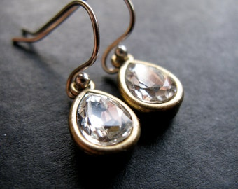 Glamour silver Gold crystal teardrop earrings limited edition