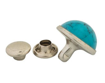 Synthetic Turquoise Rivets - 3 Sizes  100 pack