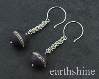 Sterling silver chainmaille earrings with purple lampwork beads