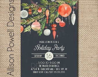 Holiday Party Invitation, Christmas Party, Holiday Cocktail Invitation - Print your own