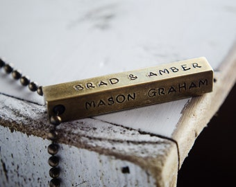 Four Sided 3D Bar Necklace - Brass Column Necklace - Unisex Long Ball Chain