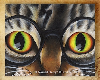 Tabby Cat Wearing Glasses 8x10 Fantasy Fine Art Print