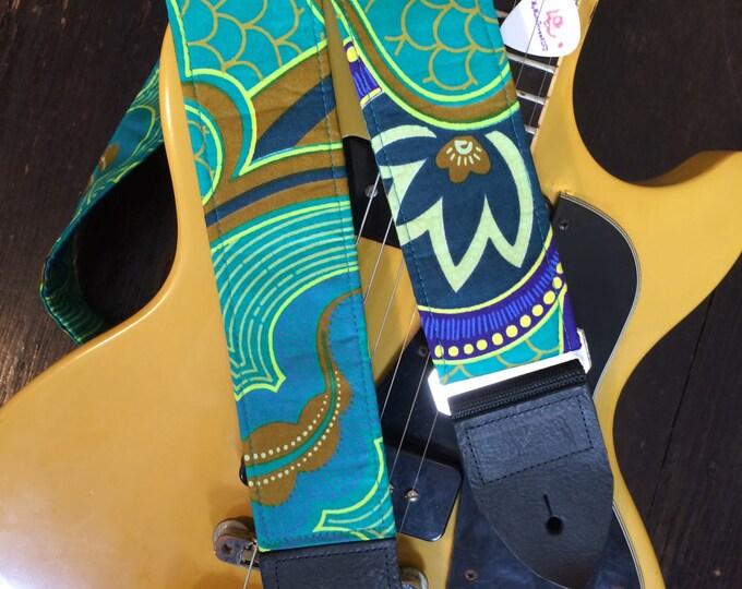 Java batik guitar strap // psychedelic hippie guitar strap batik fabric blue green bronze guitar strap // custom guitar strap available