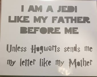 I am a Jedi Like my Father, papercut, decoration, decor, wall art, paper art, home decor, jedi, father, hogwarts, letter, mother