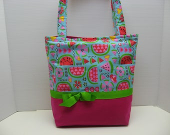 Pink Watermelon Tote Bag with Five Pockets Inside!