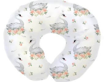 Swan Lake in Peach and Gray | Swan Nursery, peach, gray, coral, watercolor, floral | Baby Girl Nursing Pillow Cover