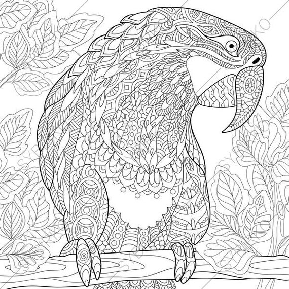 Macaw Parrot. Coloring Pages. Animal coloring book pages for