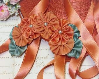 1.00 yd 1940s OMBRE GOLD Orange Ribbon Satin Leaf Ribbonwork Rosette Flower Doll Dress Cocarde Millinery Garland French Vintage Antique