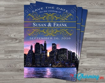 Save the Date NYC Skyline Printable Card 4x6 or 5x7 Digital Download