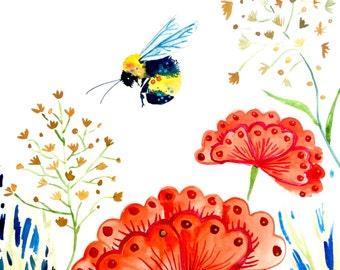 """Watercolor Print, Bee in Flowers, 8""""x10"""""""