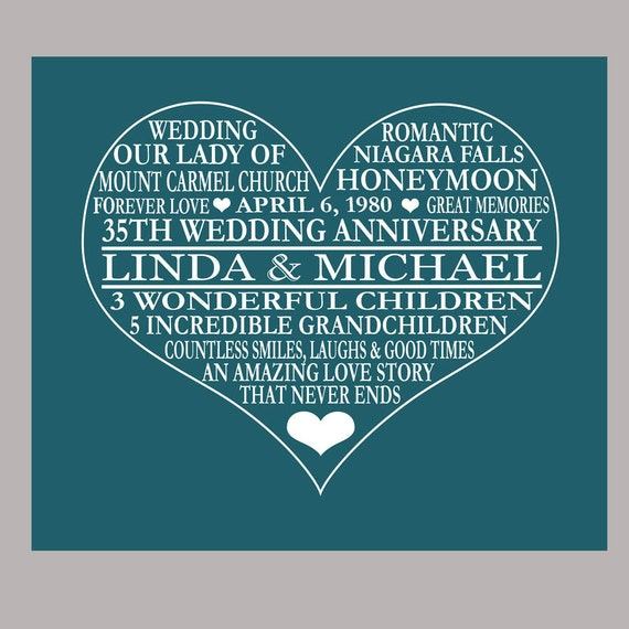 35 Wedding Anniversary Gifts For Parents: Items Similar To 35th Anniversary Print, Coral Anniversary
