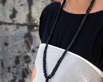 Black lava mala necklace, Long tassel necklace, Long black necklace, Vegan necklace, Bead necklace, Gothic Fashion, Dark fashion