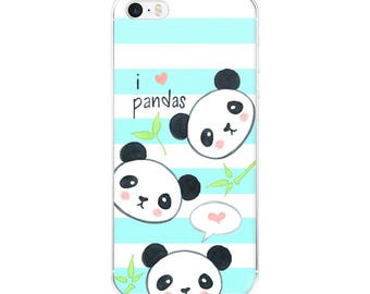 I Love Pandas IPhone Case, Panda Phone Case, Cute IPhone Case, Kawaii Panda Phone Case, Teal Striped Phone Case, Gift for Her
