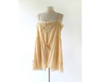 Vintage 1920s Step In | Silk Chemise | 20s Lingerie | XS S