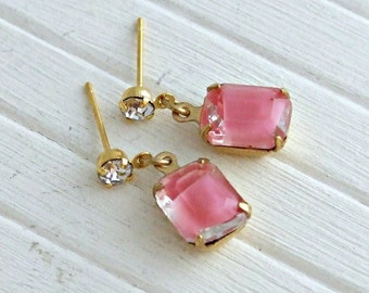Pink Crystal Earrings .. pink glass earrings, vintage style earrings, crystal earrings, two tone earrings