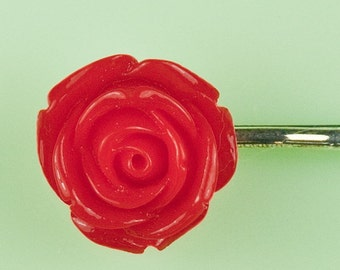 Vintage Large Lucite Red Rose Hairpin