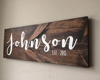 Last Name Established Wood Sign