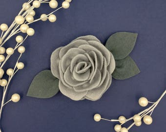Dove grey Jumbo Single Rose headband OR clip
